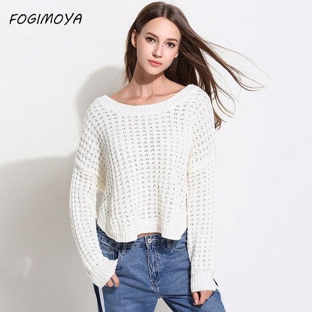 FOGIMOYA свитер Для женщин осень 2018 модная открытая длинный рукав с круглым вырезом компьютер трикотажные пуловеры Топы Для женщин свитер новый