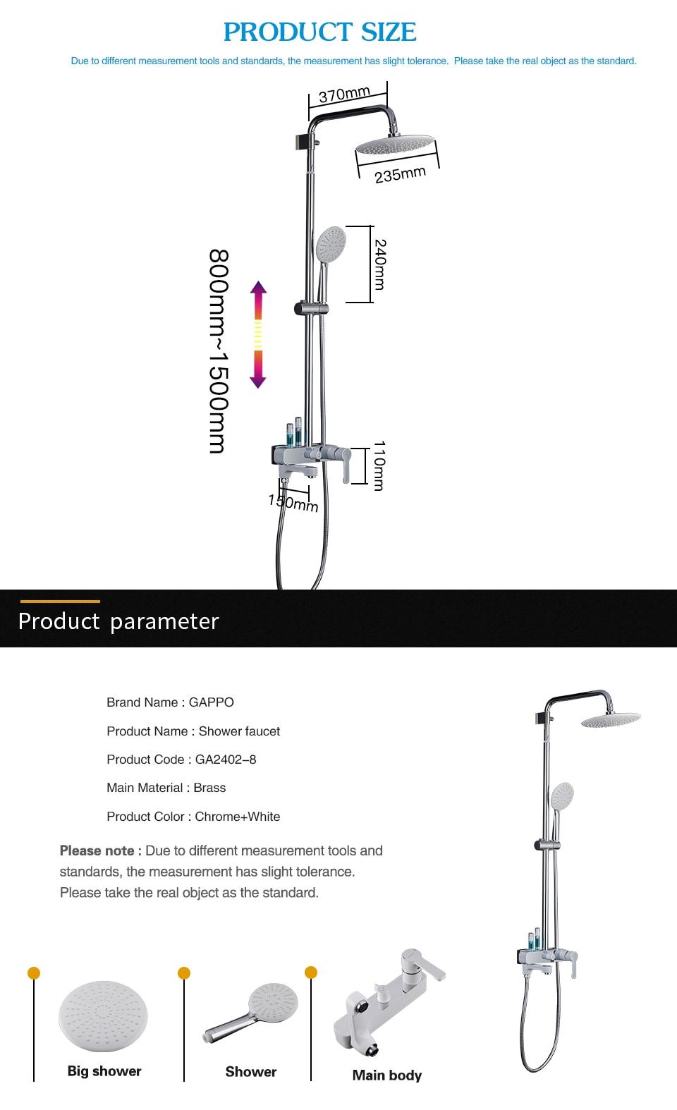 HTB1nZ6pXLfsK1RjSszgq6yXzpXaR GAPPO shower faucets bathroom White chrome shower set bath bath mixer bathroom shower system G2402-8