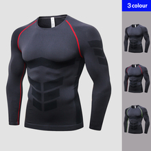 2019 Brand Seamless Long Sleeves Men's Sportswear Fitness Tights T-Shirt Training Underwear Compression Black Gym Shirt