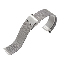 MSTRE BXG4 Solid Milanese Mesh Stainless Steel Strap With Hook Buckle Classic Watch Band Straps For