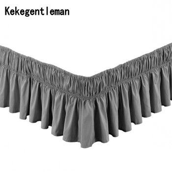 Одноцветная эластичная юбка для кровати без поверхности кровати, 100% полиэстер, фартук для кровати, покрывало, кружевное постельное покрыва...