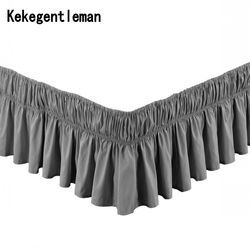 Hotel Solid Color Elastic Bed Skirt Without Bed Surface 100% Polyester Bed Apron Bedspread Lace Bed Skirt Full Queen Size