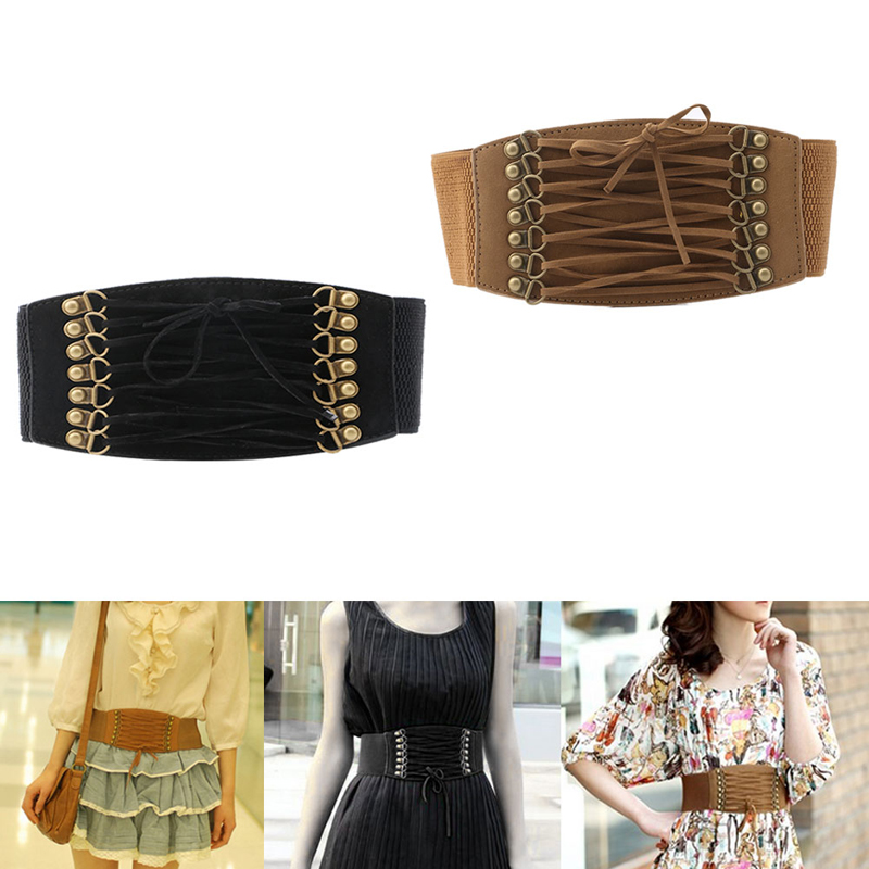 Women Fashion Elastic Buckle Wide Waistband Retro Corset Stretch Waist Belt Cummerbunds