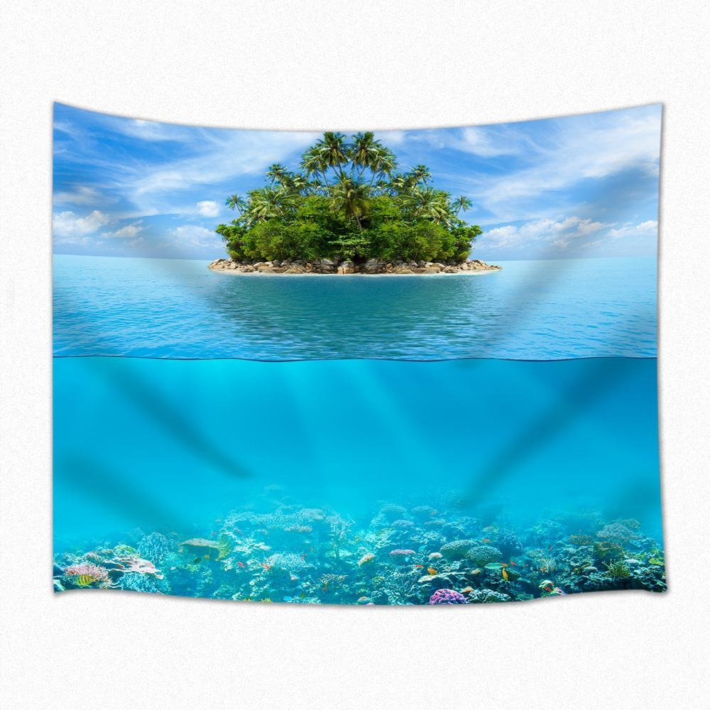 Ocean Decor Tapestry Reef Tropical Island Palm Trees And Artistic Photography Scene Wall Hanging 71 X 60 Inches