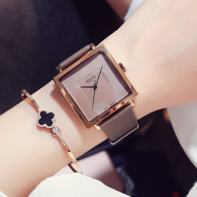 Lady Women's Watch Japan Quartz Hours Clock Fine Fine Fashion Dress Bracelet Band Leather Large Square Girl Birthday Gift auto date homme men s watch japan quartz hours fine fashion dress clock retro bracelet leather business father s day gift