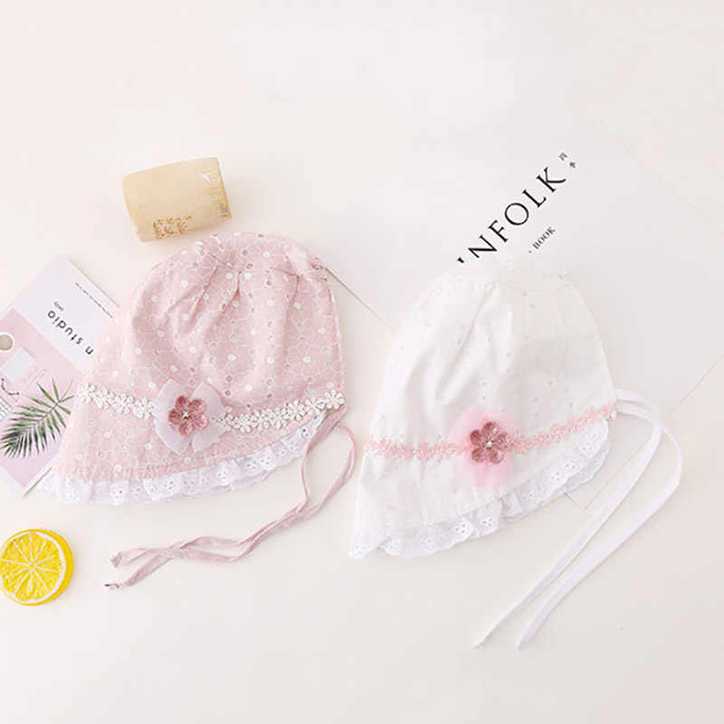 Newborn Baby Girl Cap Cute Cotton Hat Lace Pink Soft White Adjustable Princess