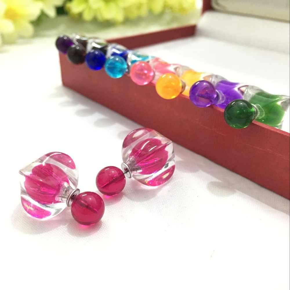 2018 New Arrival Square pattern design imitation crystal double earrings for women  4ED209