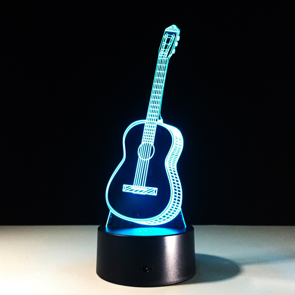 guitar 7 color change led 3d night light creative gift atmosphere desk lamp novelty luminaria. Black Bedroom Furniture Sets. Home Design Ideas
