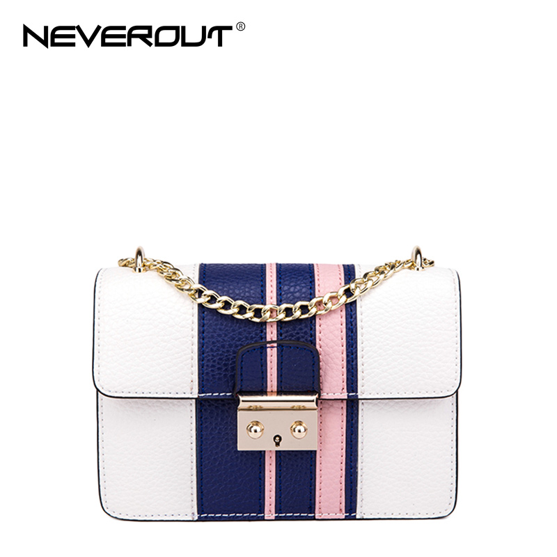 Best buy ) }}NeverOut 2018 New Arrival 2 Color Women Split Leather Bags Solid Striped Famous Design
