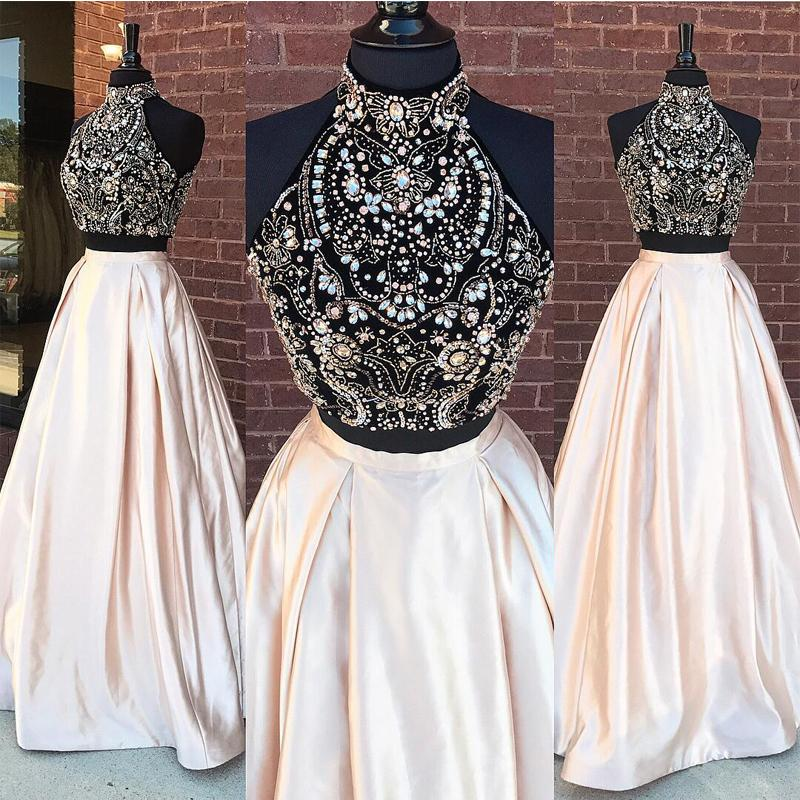 High Neck Two Pieces Long   Prom     Dresses   Beading Crystals Rhinestones Sleeveless Evening Formal Party   Dress   Vestido De Fiesta