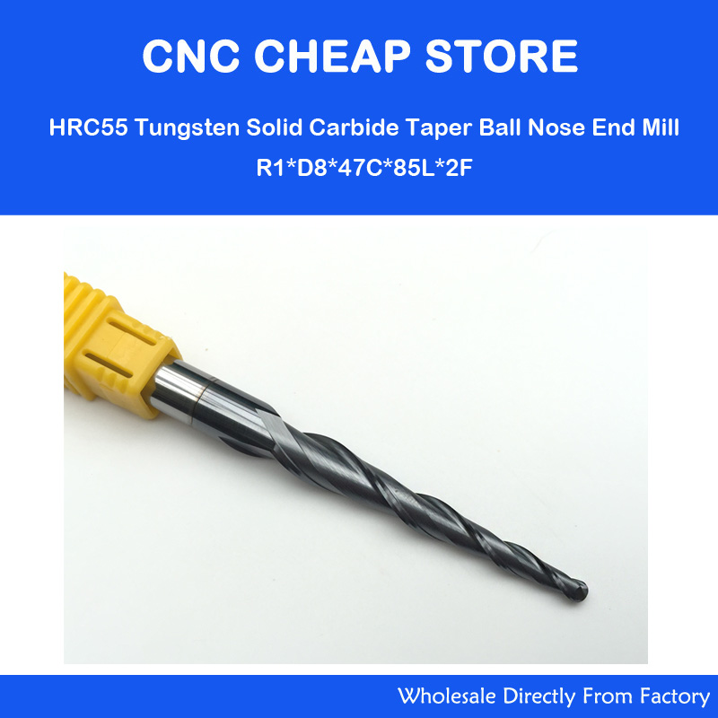 1PC HRC55 D8mm*R1.0*47*85L*2F,CNC NANO Coated solid carbide end mill,woodworking conical router bit,2 flutes taper ball nose 1pc radius 5mm 2 flutes longer hrc55 r5 20 d10 75mm solid carbide ball nose end mill cnc router bits tools longer milling cutter