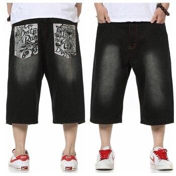 Plus size Mens Casual  Blue Lightweight Denim Shorts Men Jeans Summer Jean hip hop Mens Shorts Plus Size men short print letter 1
