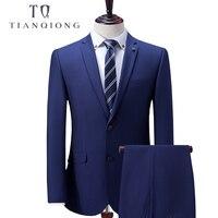 Тянь QIONG индивидуальный заказ синий мужской костюм, костюм, заказ 2018 новые Нарядные Костюмы для свадьбы для Для мужчин, slim Fit Жених смокинги д