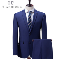 TIAN QIONG Custom Made Blue Men Suit, Tailor Made Suit, Bespoke 2018 New Wedding Suits For Men, Slim Fit Groom Tuxedos For Men