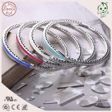 Новая коллекция популярные и модные Красочные эмаль CZ укладки 925 серебро браслет