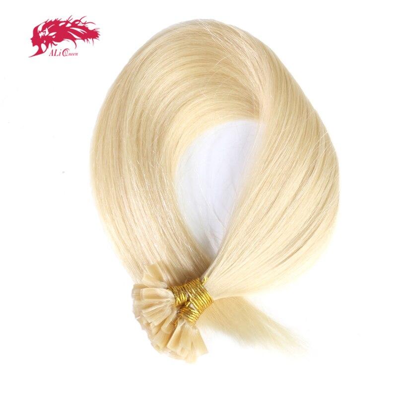 Ali Queen HairStraight Keratin Human Fusion Hair Nail U Tip Machine Made Remy Human Hair Extensions 16/18/20 1g/s 50g Muti-Color