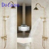 Dofaso quality antique bath rain gold shower faucet set 8'' head shower vintage all brass bath shower kit gold tap