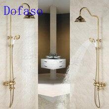 Dofaso quality antique bath rain gold shower faucet set 8 head vintage all brass kit tap