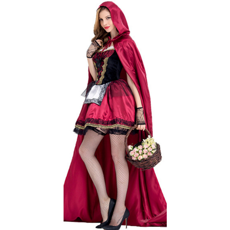 new high quality Fairy Tales Little Red Riding Hood Costume club sexy maid clothing Masquerade Women Halloween Party Fancy Dress