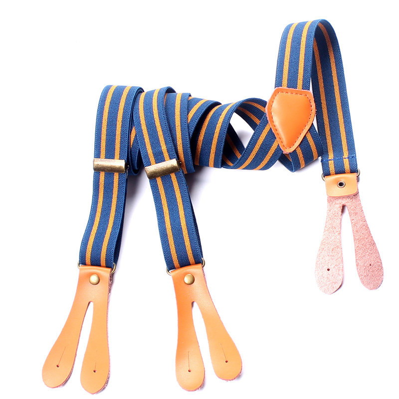 Blue And Orange Striped Suspenders Men Elastic Y-back 2.5cm Adjustable Clips On Women Button Braces Belt Strap