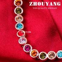 Zhouyang zyn117 multicor colar de cristal cor de rosa de ouro de qualidade superior moda jóias livres de níquel pingente áustria cristal