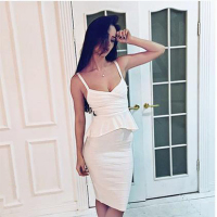 2016 New Winter Women Bandage Dress Sleeveless V Neck 2 Piece Set Elegant Lady Club Evening