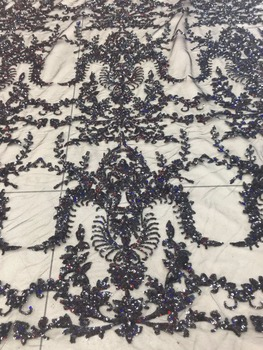 New pattern  5yards JL82#   Black embroidered embroidery  Sequins   lace fabric for bridal wedding dress/sawing Free shipping
