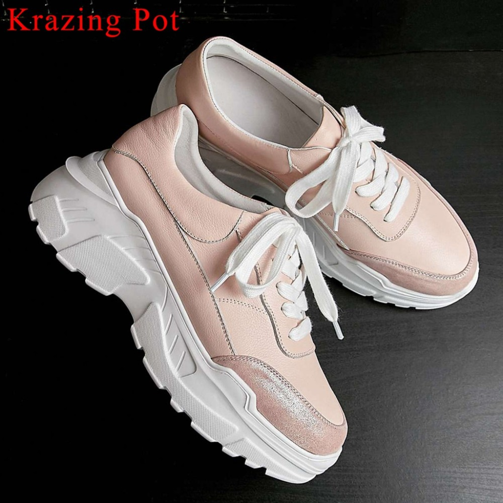 2019 concise style natural leather round toe lace up mixed colors thick high bottom waterproof sneakers