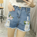 New Fashion Floral Embroidery Shorts Women High Waist Shorts Feminino Jeans Pockets Women Ripped Denim Shorts Plus Size MZ1463