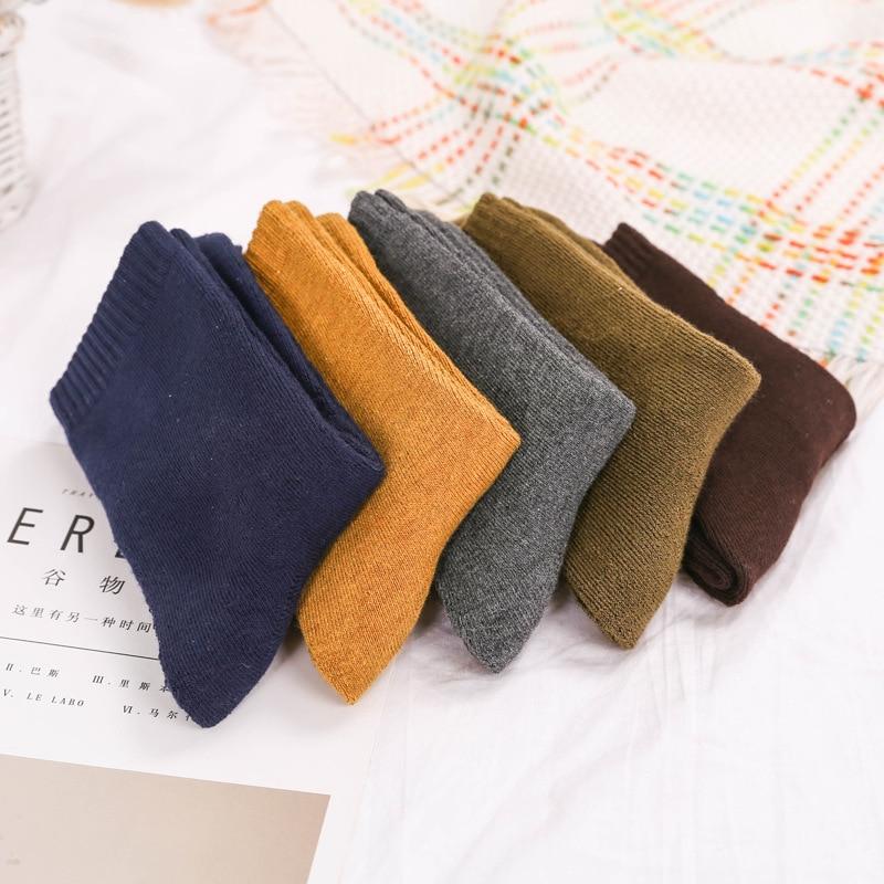 Men Fashion Solid Color Happy Hip Hop Street Skater Socks Winter Thickening Warm Wool Casual Cotton Socks Male Hosiery Autumn