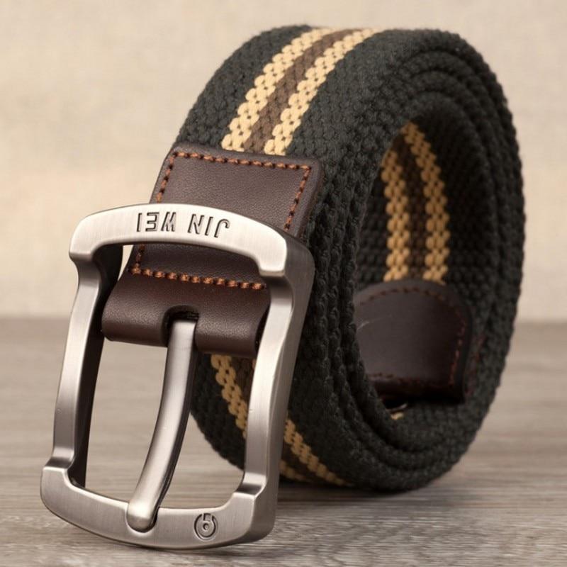 Военный ремень с пряжкой для спорта на открытом воздухе, тактический ремень для мужчин и женщин, высококачественные холщовые ремни для джинсов, мужские роскошные повседневные ремни - Цвет: Army green stripes