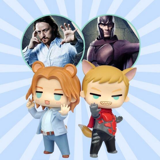 Les X-MEN Professeur X et Magnéto chat Q version Action mignon figure Super hero modèle PVC poupées jouets pour enfants de cadeau 312