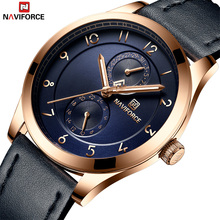 NAVIFORCE luksusowa marka analogowy zegarek sportowy data wyświetlania męski zegarek kwarcowy zegarek biznesowy męski zegarek relogio masculino tanie tanio 25cm Moda casual QUARTZ 3Bar Klamra CN (pochodzenie) STAINLESS STEEL 10mm Hardlex Kwarcowe Zegarki Na Rękę Skórzane