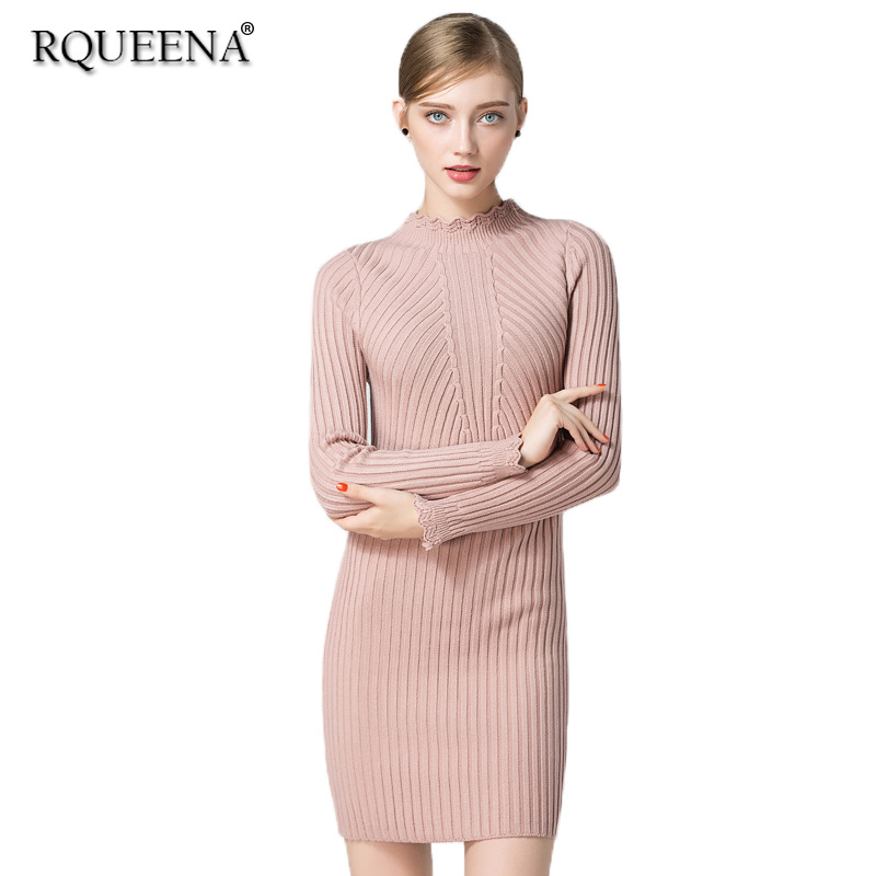 Rqueena Fashion Autumn Winter Women Casual Long Knitted Dresses Half Turtleneck Sweater Dress Thick Warm Sexy Women Dress WD174 tanworders women thick warm winter hats 2017 autumn new knitted beanies hat button ski caps gorro invierno
