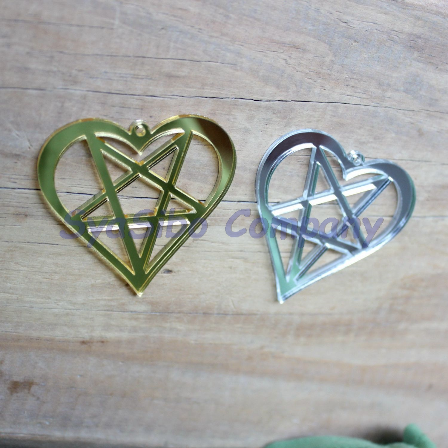 Gold star ornaments -  2colors 24pcs Lot 50mm Acrylic Star Heart Ornaments For Earrings Gold Mirror
