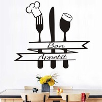French Bon Appetit Quote Wall Sticker Kitchen Cutlery Chef Hat Home Decor Wall Decals Black