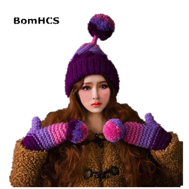 cf8427e4051 BomHCS 100% Handmade Beanie Colorful Mosaic Violet Women s Winter Warm  Knitted Hat+ Gloves (without