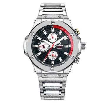 Luxury Brand Mechanical Men's Watch With Luminous Hands 316L Stainless Steel Band Calendar Display Waterproof 100m 8104