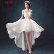 Off Shoulder High/Low Bohemian Wedding Dress Cap Sleeve Embroidery Appliques Short Beach Wedding Dresses vestido de noiva W0087
