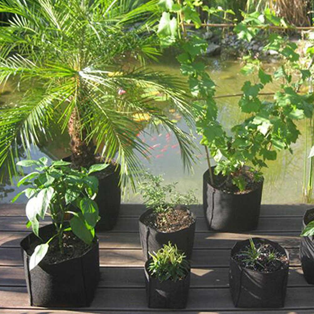 1 unidad contenedor de aireación PE flor patata jardín invernadero macetas negro redondo tela macetas bolsa de cultivo de raíz
