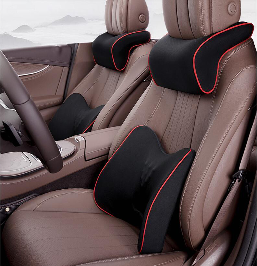 HTB1nZ8iR9zqK1RjSZFjq6zlCFXal Quality Car Seat Cushion and Back Support Pillow Set Memory Foam Fit Body Curve Relieve Seat Pressure Correct Posture
