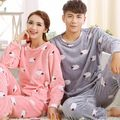 Flannel Unisex Couple Pajamas Sets Adult Lovers Women Men Owl Homewear Thick Winter Coral Fleece Suits Ladies Pajama Sleepwear