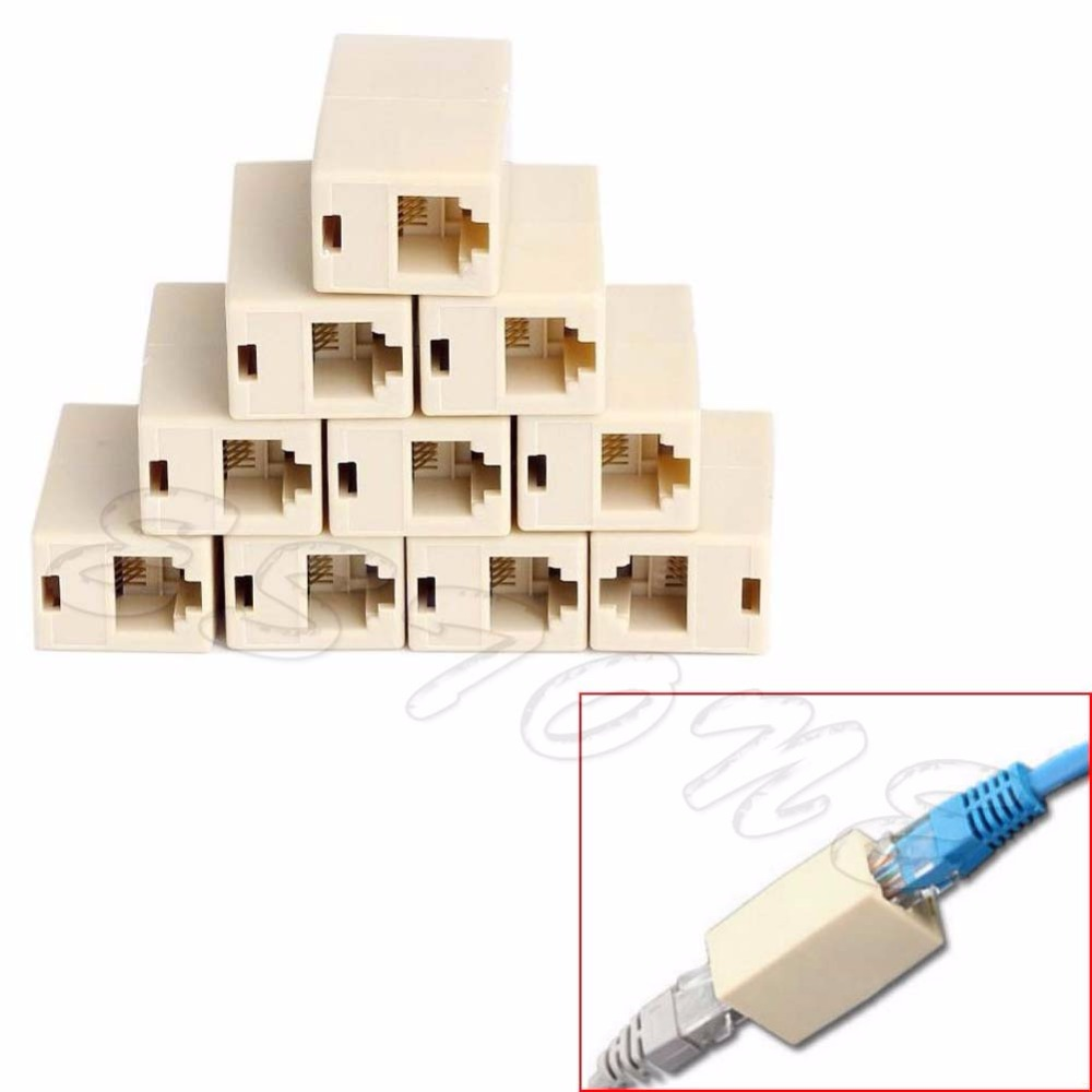 10Pcs RJ45 CAT5 Coupler Plug Network LAN Cable Extender Connector Adapter D14 good 1pc black female to female network lan connector adapter coupler extender rj45 good quality