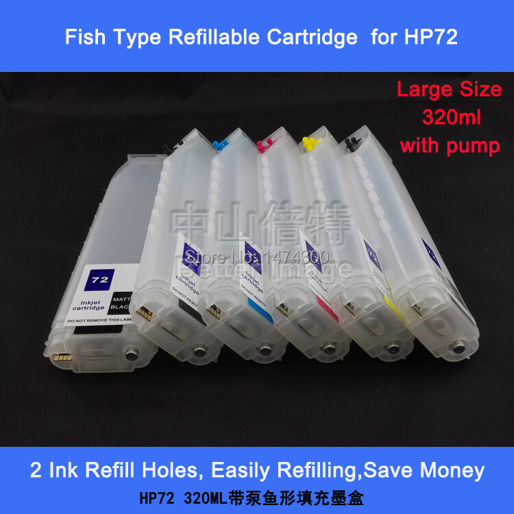 320ml Chipped Empty Refillable ink cartridge with pump for HP72 ,fish shape,2 sets a lot 6l hp72 refill ink for hp 72 cartridge bulk ink supply for hp t610 t620 t770 t795 t1200t t1300 t790 t2300 c9403a printer bmkj