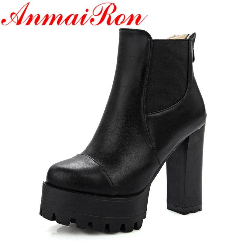ANMAIRON nouveau Style de mode hiver bottines pour femmes fermetures à glissière bout rond solide carré talons hauts femmes chaussures Clasic noir chaussures