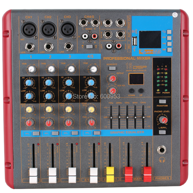 micwl 5 channel bluetooth microphone mixing console digital mixer for recording studio stage. Black Bedroom Furniture Sets. Home Design Ideas