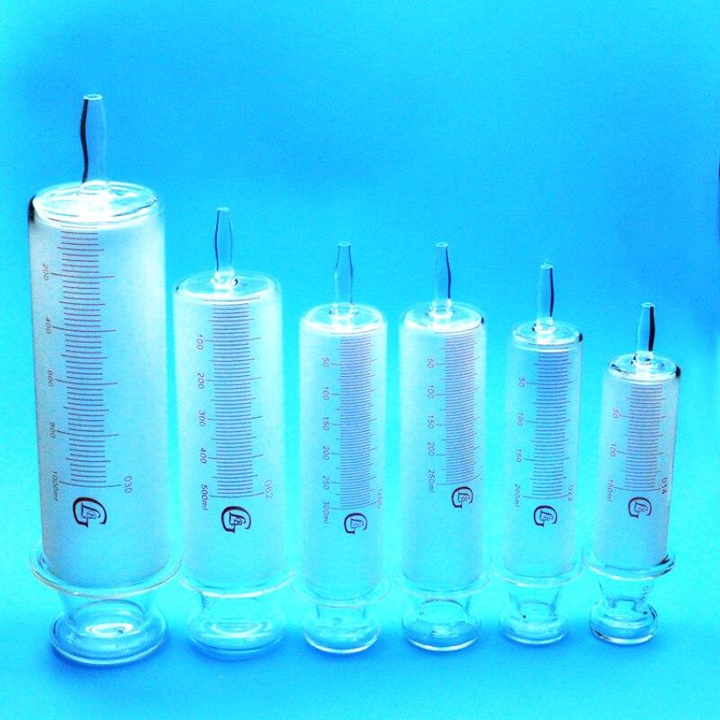 Dużego kalibru wszystkie strzykawki szklane szkło lewatywa kiełbasa urządzenie szkło próbki Extractor wtryskiwacza 150 ml/200 ml/250 ml/300 ml/500 ml w Pipety od Artykuły biurowe i szkolne na  Grupa 1