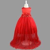 Girl Classmate Party Evening Dresses Bridal Bridesmaid Flower Child Dress 110cm To 150cm Red Flower Long