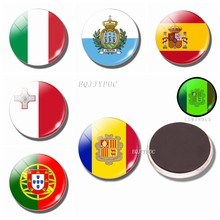 Luminous Fridge Magnets Flag 30MM Glass Refrigerator Magnet Souvenir Europe: Italy, SAN Marino, Malta, Spain, Portugal, Andorra(China)