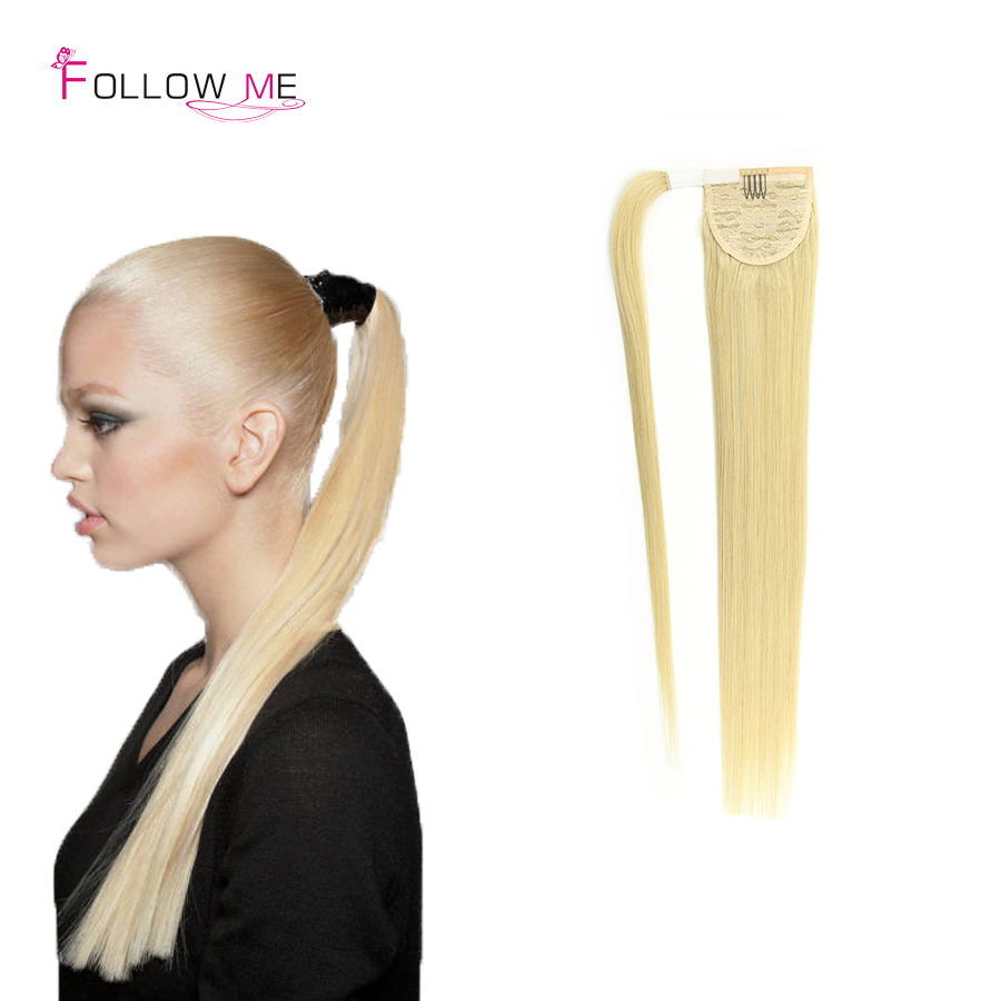 #60 Blonde Remy Human Hair Ponytail Extensions 100G Clip in Malaysian Wrap Around Ponytail 100% Remy Human Hair Ponytails 120G